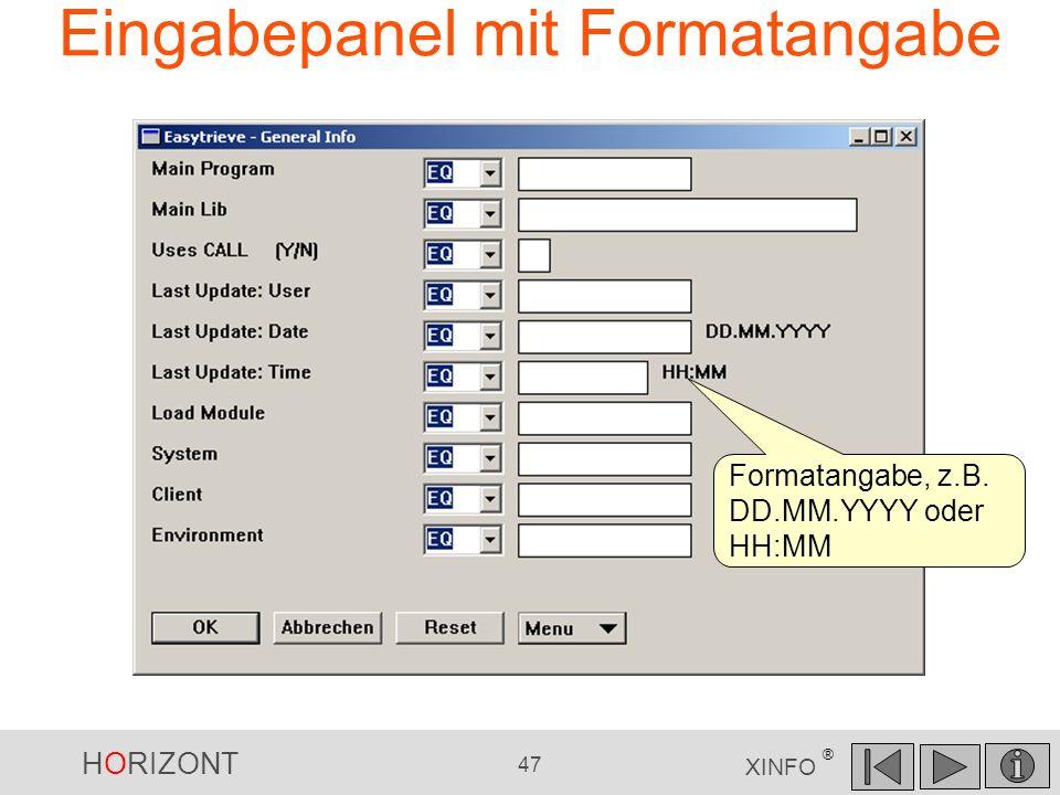 HORIZONT 47 XINFO ® Eingabepanel mit Formatangabe Formatangabe, z.B. DD.MM.YYYY oder HH:MM