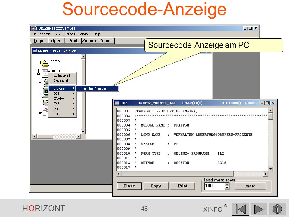 HORIZONT 48 XINFO ® Sourcecode-Anzeige Sourcecode-Anzeige am PC