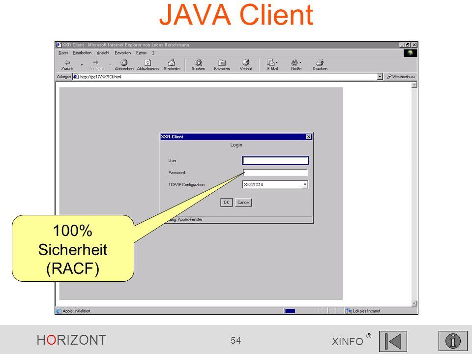 HORIZONT 54 XINFO ® JAVA Client 100% Sicherheit (RACF)