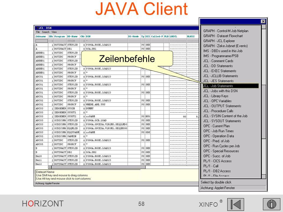 HORIZONT 58 XINFO ® JAVA Client Zeilenbefehle