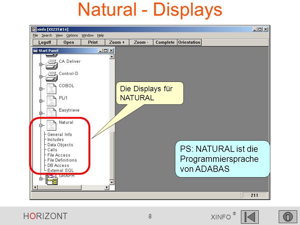 HORIZONT 8 XINFO ® Natural - Displays Die Displays für NATURAL PS: NATURAL ist die Programmiersprache von ADABAS