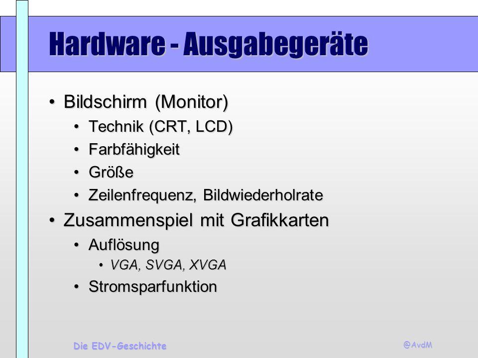 @AvdM Die EDV-Geschichte Hardware - Ausgabegeräte Bildschirm (Monitor)Bildschirm (Monitor) Technik (CRT, LCD)Technik (CRT, LCD) FarbfähigkeitFarbfähig