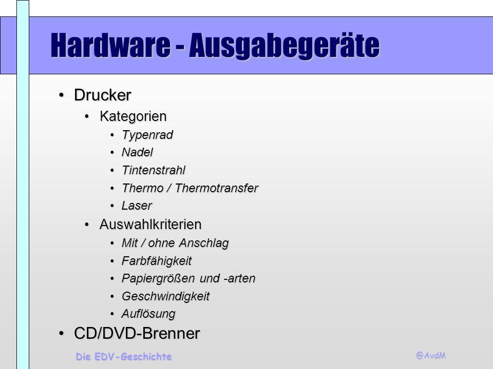 @AvdM Die EDV-Geschichte Hardware - Ausgabegeräte DruckerDrucker KategorienKategorien TypenradTypenrad NadelNadel TintenstrahlTintenstrahl Thermo / Th