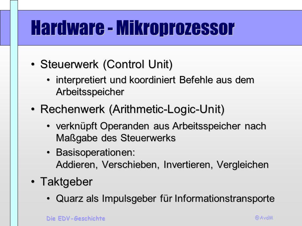 @AvdM Die EDV-Geschichte Hardware - Mikroprozessor Steuerwerk (Control Unit)Steuerwerk (Control Unit) interpretiert und koordiniert Befehle aus dem Ar