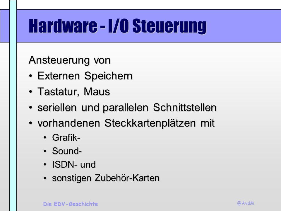 @AvdM Die EDV-Geschichte Hardware - I/O Steuerung Ansteuerung von Externen SpeichernExternen Speichern Tastatur, MausTastatur, Maus seriellen und para