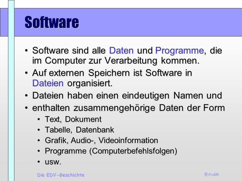 @AvdM Die EDV-Geschichte Software Software sind alle Daten und Programme, die im Computer zur Verarbeitung kommen.Software sind alle Daten und Program