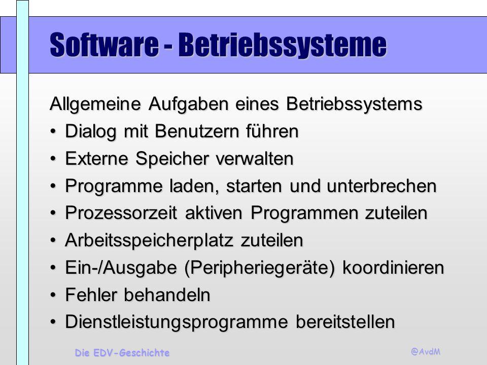 @AvdM Die EDV-Geschichte Software - Betriebssysteme Allgemeine Aufgaben eines Betriebssystems Dialog mit Benutzern führenDialog mit Benutzern führen E