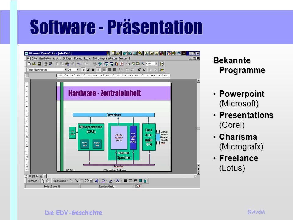 @AvdM Die EDV-Geschichte Software - Präsentation Bekannte Programme Powerpoint (Microsoft)Powerpoint (Microsoft) Presentations (Corel)Presentations (C