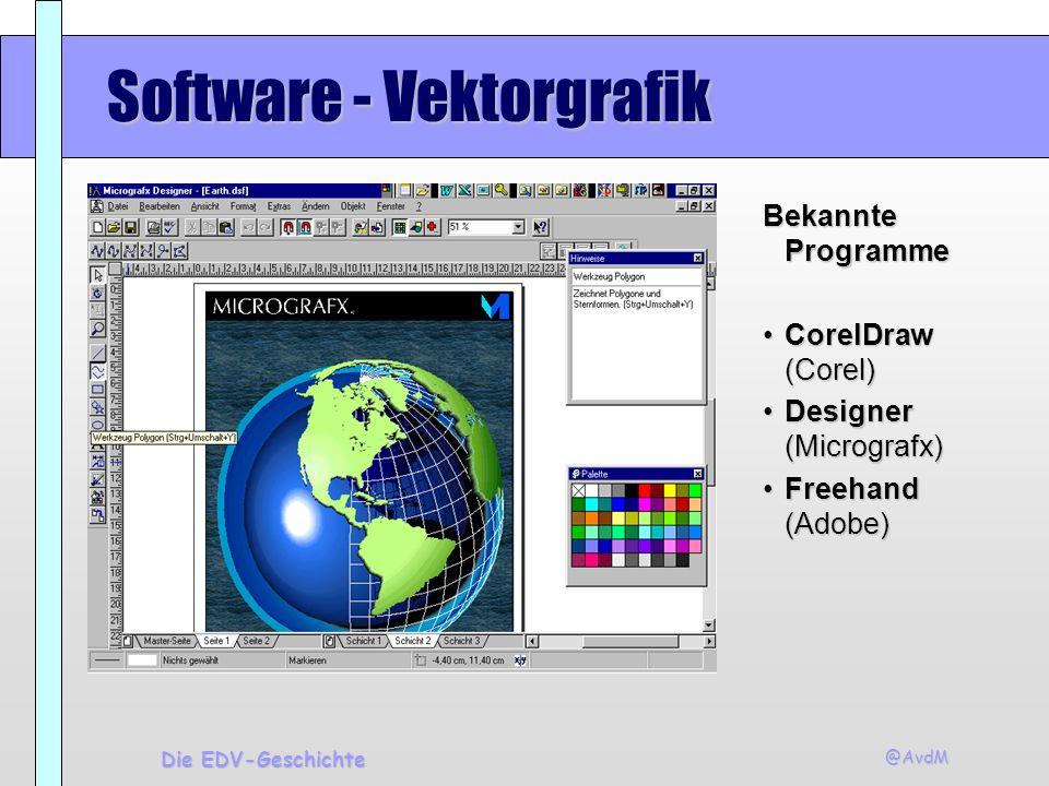 @AvdM Die EDV-Geschichte Software - Vektorgrafik Bekannte Programme CorelDraw (Corel)CorelDraw (Corel) Designer (Micrografx)Designer (Micrografx) Free