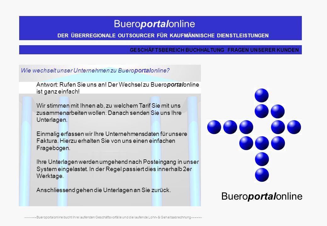 Bueroportalonline DER ÜBERREGIONALE OUTSOURCER FÜR KAUFMÄNNISCHE DIENSTLEISTUNGEN ----------Bueroportalonline bucht Ihre laufenden Geschäftsvorfälle und die laufende Lohn- & Gehaltsabrechnung---------- Warum gibt es bei Bueroportalonline verschiedene Tarife.
