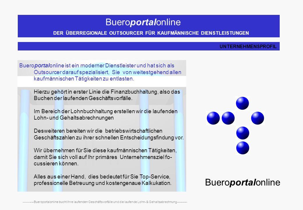 Bueroportalonline DER ÜBERREGIONALE OUTSOURCER FÜR KAUFMÄNNISCHE DIENSTLEISTUNGEN ----------Bueroportalonline bucht Ihre laufenden Geschäftsvorfälle und die laufende Lohn- & Gehaltsabrechnung---------- Bueroportalonline