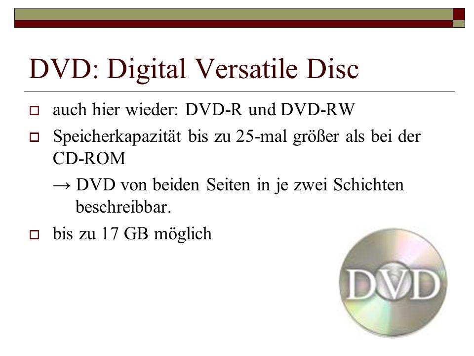 DVD: Digital Versatile Disc auch hier wieder: DVD-R und DVD-RW Speicherkapazität bis zu 25-mal größer als bei der CD-ROM DVD von beiden Seiten in je z