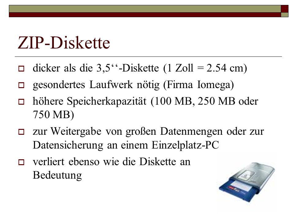 ZIP-Diskette dicker als die 3,5-Diskette (1 Zoll = 2.54 cm) gesondertes Laufwerk nötig (Firma Iomega) höhere Speicherkapazität (100 MB, 250 MB oder 75