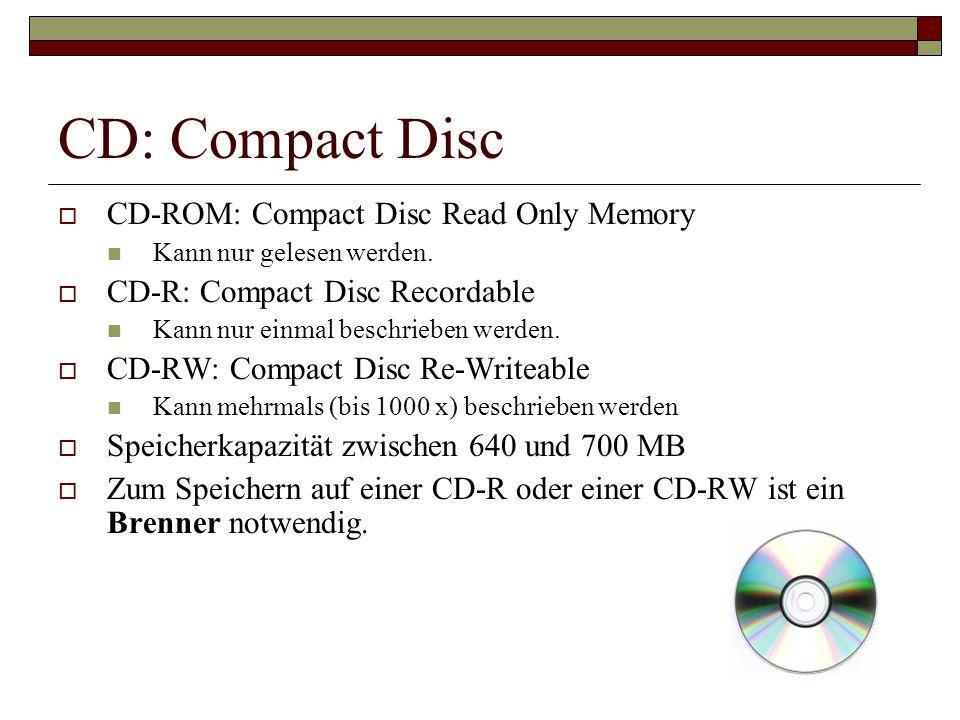 CD: Compact Disc CD-ROM: Compact Disc Read Only Memory Kann nur gelesen werden. CD-R: Compact Disc Recordable Kann nur einmal beschrieben werden. CD-R