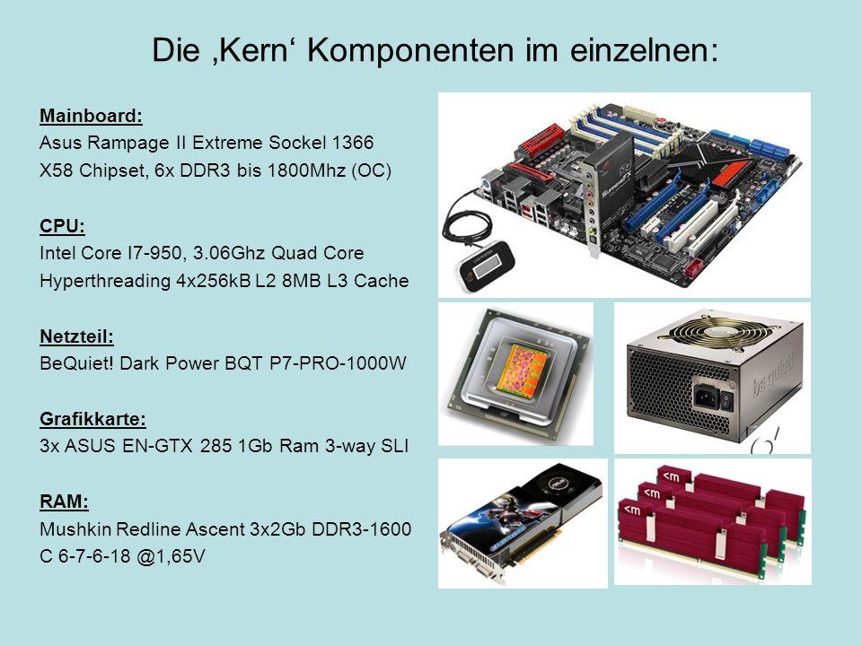 Die Kern Komponenten im einzelnen: Mainboard: Asus Rampage II Extreme Sockel 1366 X58 Chipset, 6x DDR3 bis 1800Mhz (OC) CPU: Intel Core I7-950, 3.06Gh