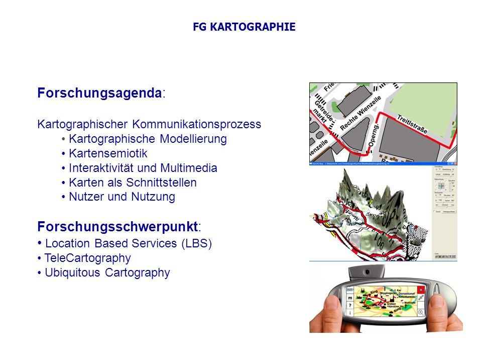 FG KARTOGRAPHIE Forschungsagenda: Kartographischer Kommunikationsprozess Kartographische Modellierung Kartensemiotik Interaktivität und Multimedia Kar