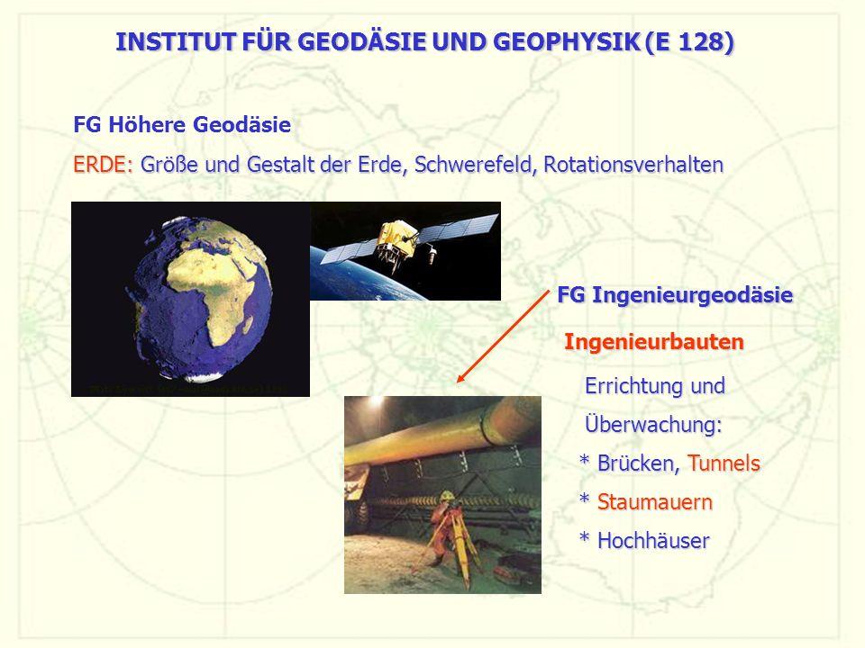 INSTITUT FÜR GEODÄSIE UND GEOPHYSIK (E 128) ERDE: Größe und Gestalt der Erde, Schwerefeld, Rotationsverhalten ERDE: Größe und Gestalt der Erde, Schwer