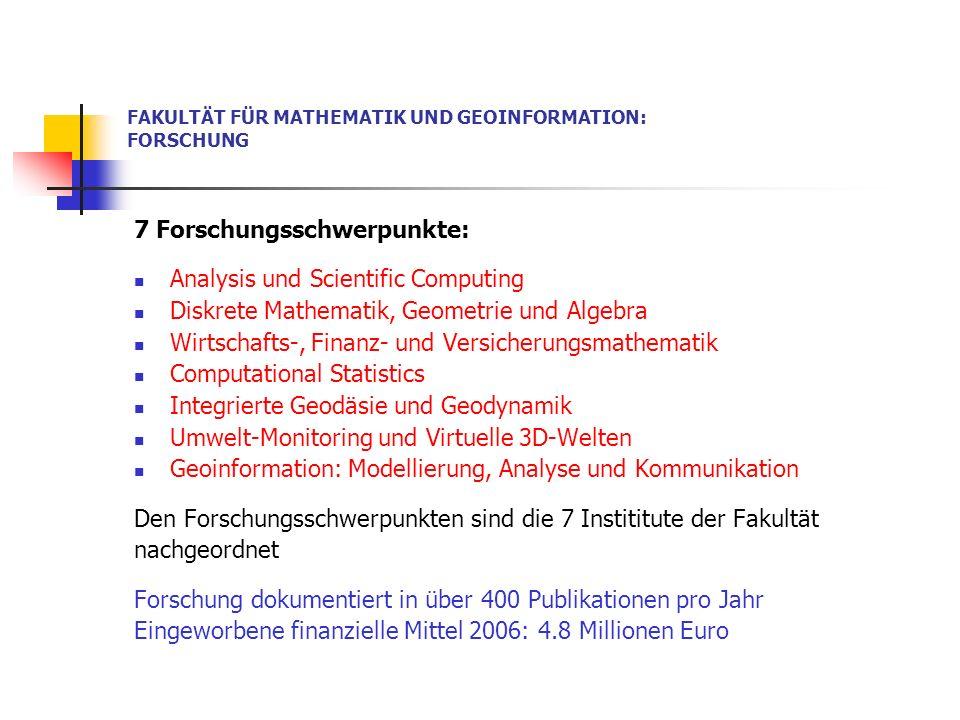 FAKULTÄT FÜR MATHEMATIK UND GEOINFORMATION: PERSONAL (Anzahlen Personen- ohne Stipendiaten) Professoren 17 Mathematik + 7 Geoinformation 24 Ao.