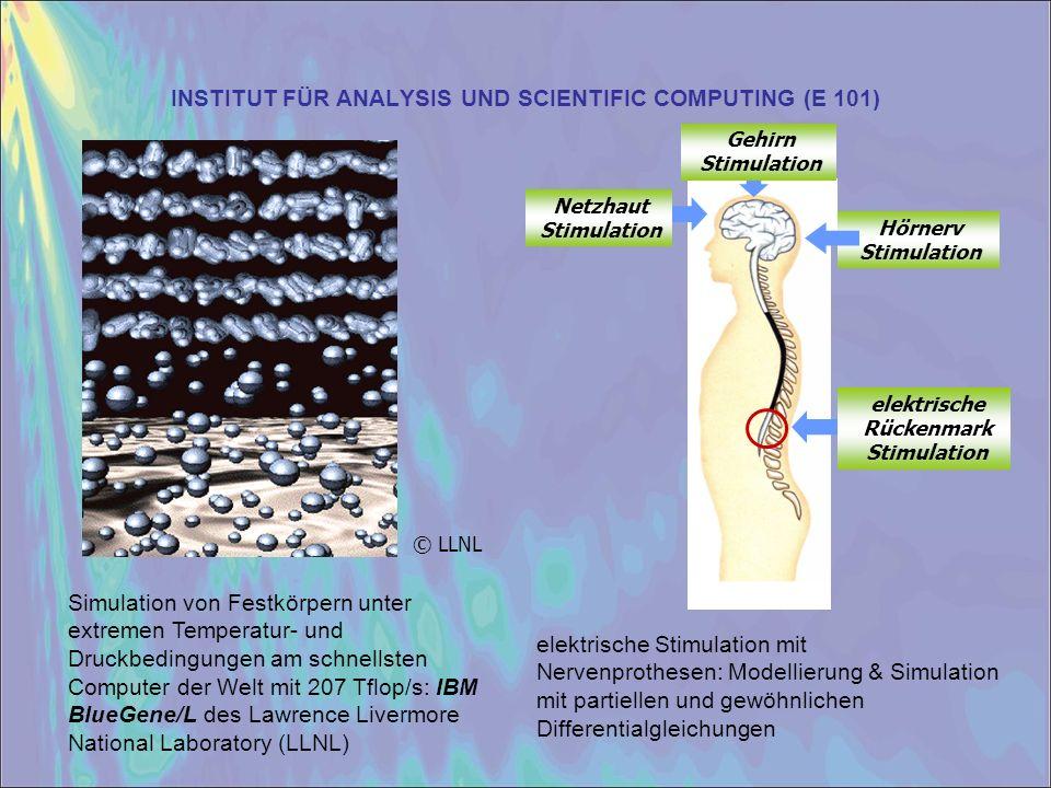 INSTITUT FÜR ANALYSIS UND SCIENTIFIC COMPUTING (E 101) elektrische Rückenmark Stimulation Hörnerv Stimulation Gehirn Stimulation Netzhaut Stimulation