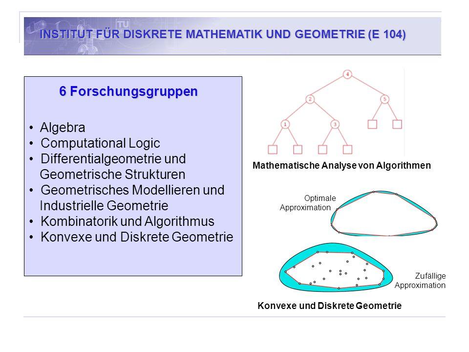 6 Forschungsgruppen Algebra Computational Logic Differentialgeometrie und Geometrische Strukturen Geometrisches Modellieren und Industrielle Geometrie