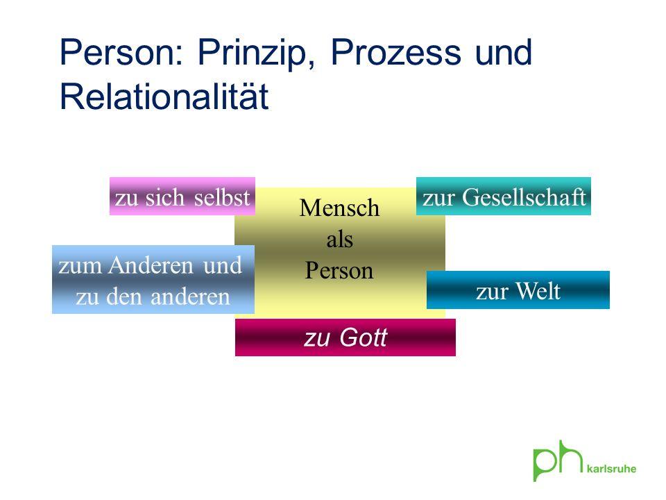Mensch als Person zu sich selbst zum Anderen und zu den anderen zur Gesellschaft zur Welt Person: Prinzip, Prozess und Relationalität zu Gott