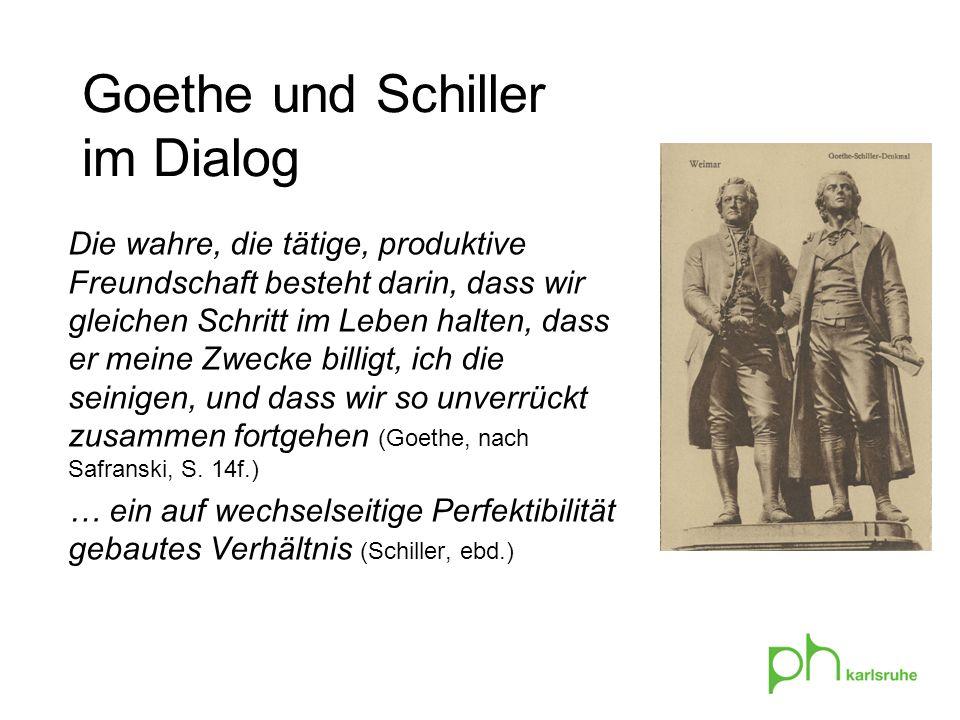 Goethe und Schiller im Dialog Die wahre, die tätige, produktive Freundschaft besteht darin, dass wir gleichen Schritt im Leben halten, dass er meine Zwecke billigt, ich die seinigen, und dass wir so unverrückt zusammen fortgehen (Goethe, nach Safranski, S.