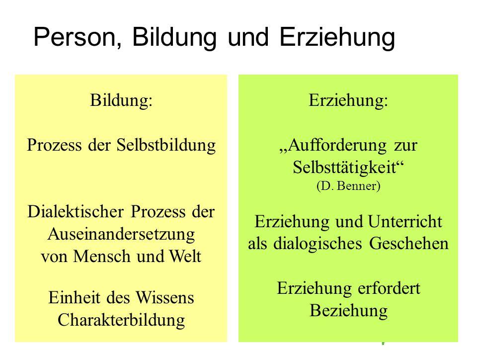 Bildung: Prozess der Selbstbildung Dialektischer Prozess der Auseinandersetzung von Mensch und Welt Einheit des Wissens Charakterbildung Erziehung: Au