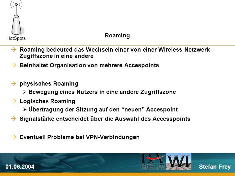 Stefan Frey01.06.2004 Roaming bedeuted das Wechseln einer von einer Wireless-Netzwerk- Zugiffszone in eine andere Beinhaltet Organisation von mehrere Accespoints physisches Roaming Bewegung eines Nutzers in eine andere Zugriffszone Logisches Roaming Übertragung der Sitzung auf den neuen Accespoint Signalstärke entscheidet über die Auswahl des Accesspoints Eventuell Probleme bei VPN-Verbindungen Roaming