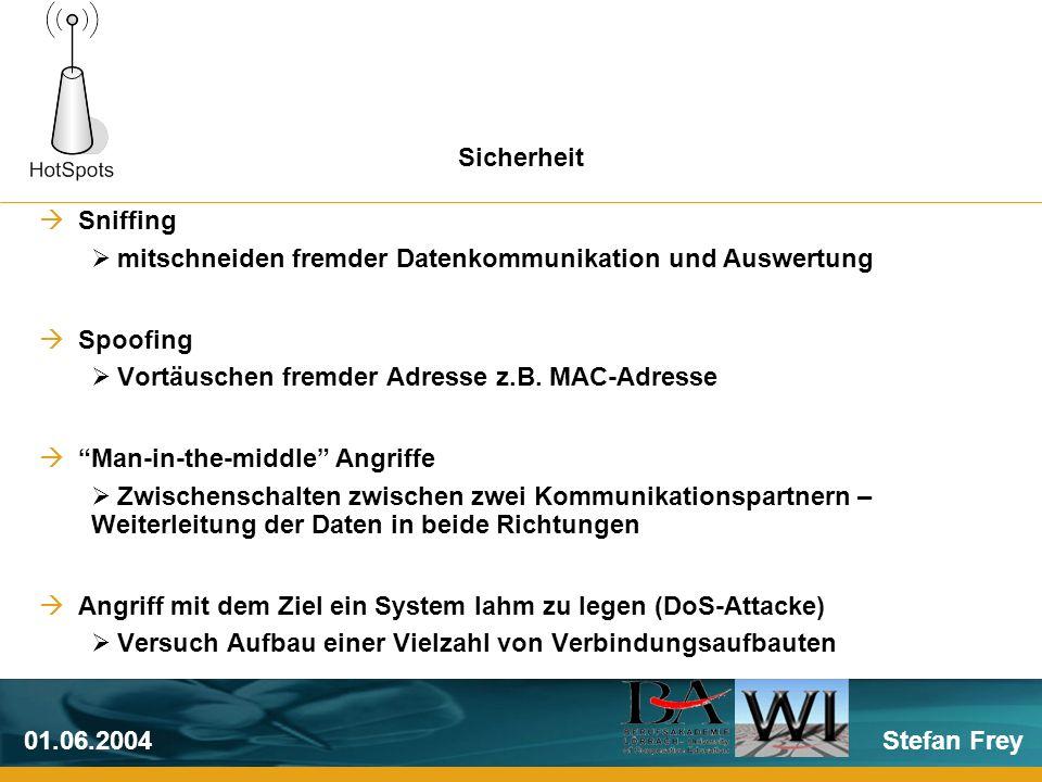 Stefan Frey01.06.2004 Sniffing mitschneiden fremder Datenkommunikation und Auswertung Spoofing Vortäuschen fremder Adresse z.B.
