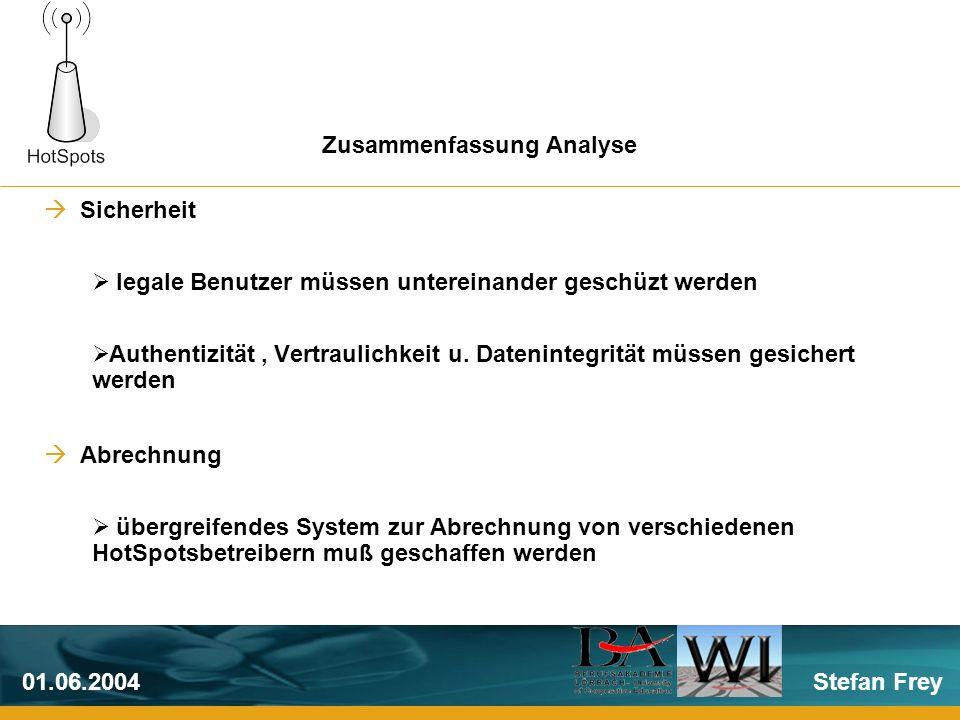 Stefan Frey01.06.2004 Sicherheit legale Benutzer müssen untereinander geschüzt werden Authentizität, Vertraulichkeit u.