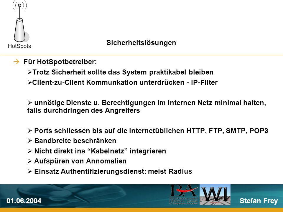 Stefan Frey01.06.2004 Für HotSpotbetreiber: Trotz Sicherheit sollte das System praktikabel bleiben Client-zu-Client Kommunkation unterdrücken - IP-Filter unnötige Dienste u.