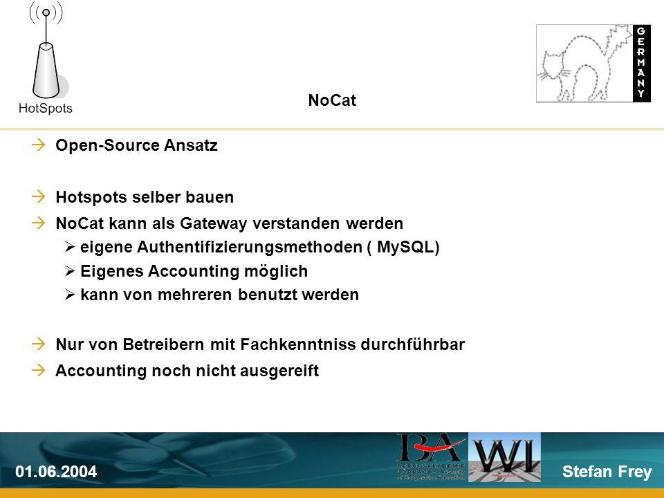 Stefan Frey01.06.2004 Open-Source Ansatz Hotspots selber bauen NoCat kann als Gateway verstanden werden eigene Authentifizierungsmethoden ( MySQL) Eigenes Accounting möglich kann von mehreren benutzt werden Nur von Betreibern mit Fachkenntniss durchführbar Accounting noch nicht ausgereift NoCat