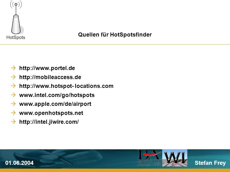 Stefan Frey01.06.2004 http://www.portel.de http://mobileaccess.de http://www.hotspot- locations.com www.intel.com/go/hotspots www.apple.com/de/airport www.openhotspots.net http://intel.jiwire.com/ Quellen für HotSpotsfinder