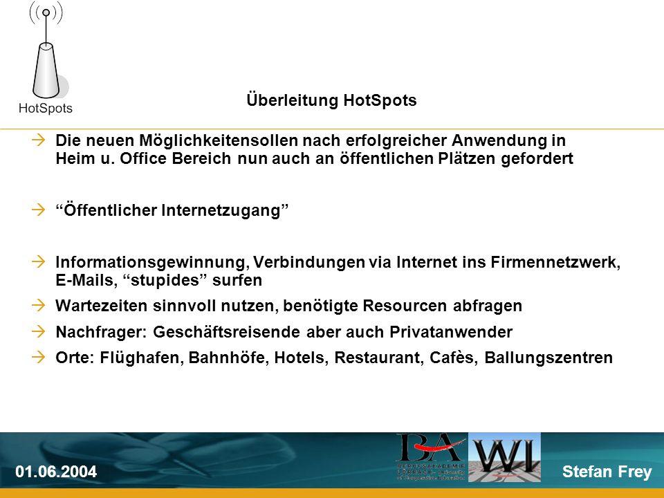 Stefan Frey01.06.2004 Ein HotSpot bezeichnet ein lokal aufgebautes Netzwerk an einem öffentlichen Ort mit Zugang zum Internet Nutzung möglich mit WLAN-Pheripherie ausgestatteten Notebooks und PDA`s Meist an geografischen Orten mit großer Nachfrage an Netzwerkkapaztät Hotspot-Definition