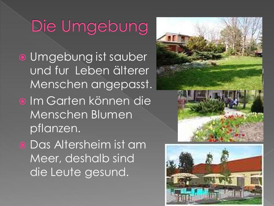 Umgebung ist sauber und fur Leben älterer Menschen angepasst. Im Garten können die Menschen Blumen pflanzen. Das Altersheim ist am Meer, deshalb sind