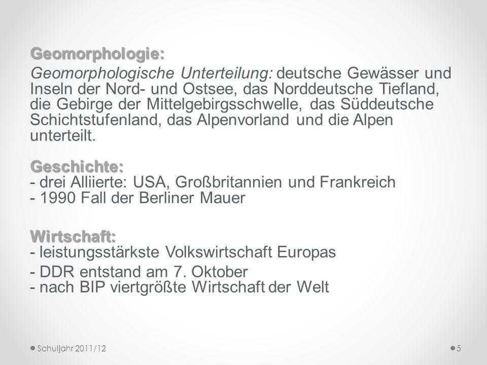 Geomorphologie: Geschichte: Geomorphologische Unterteilung: deutsche Gewässer und Inseln der Nord- und Ostsee, das Norddeutsche Tiefland, die Gebirge