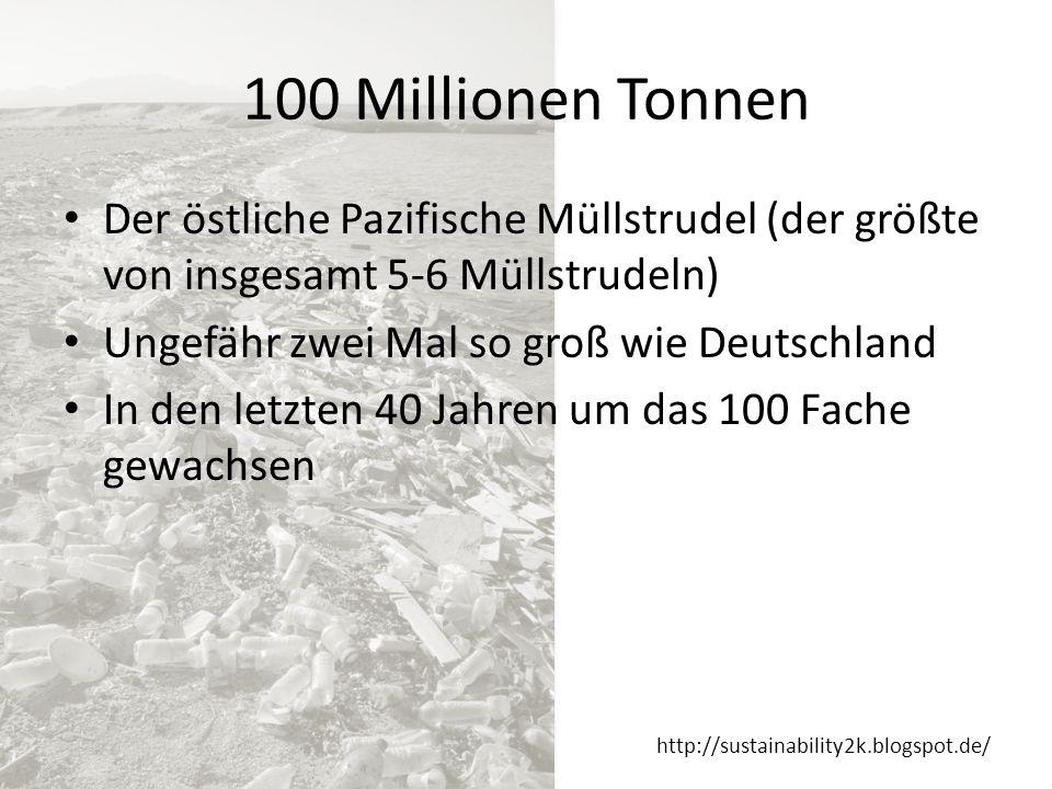 http://sustainability2k.blogspot.de/ Ursache Von 260-300 Millionen Tonnen jährlicher Plastik-Produktion landen ca.