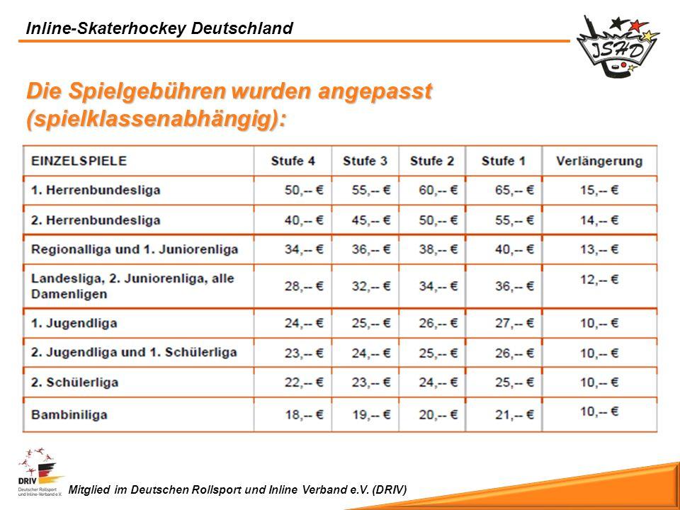Inline-Skaterhockey Deutschland Mitglied im Deutschen Rollsport und Inline Verband e.V. (DRIV) Die Spielgebühren wurden angepasst (spielklassenabhängi