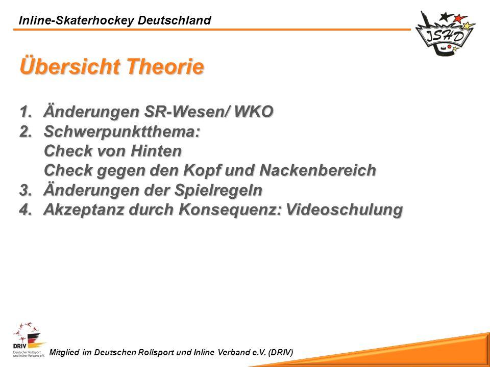 Inline-Skaterhockey Deutschland Mitglied im Deutschen Rollsport und Inline Verband e.V. (DRIV) Übersicht Theorie 1.Ä nderungen SR-Wesen/ WKO 2.S chwer