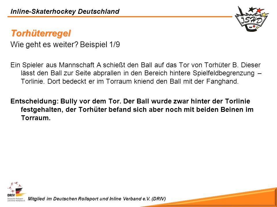 Inline-Skaterhockey Deutschland Mitglied im Deutschen Rollsport und Inline Verband e.V. (DRIV) Torhüterregel Wie geht es weiter? Beispiel 1/9 Ein Spie