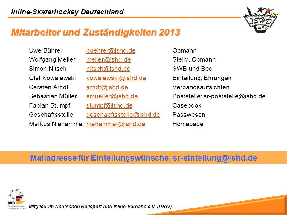 Inline-Skaterhockey Deutschland Mitglied im Deutschen Rollsport und Inline Verband e.V. (DRIV) Uwe Bührerbuehrer@ishd.deObmannbuehrer@ishd.de Wolfgang