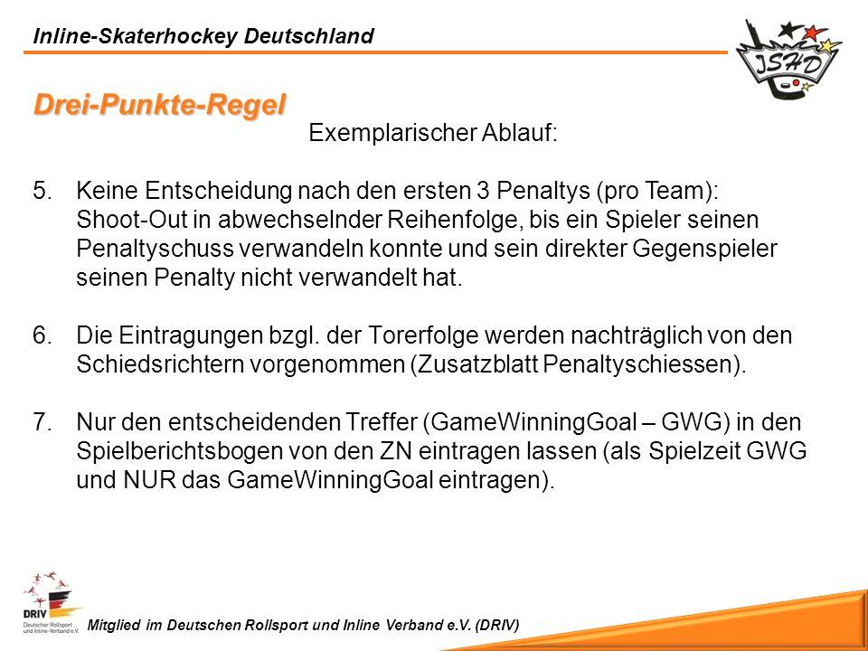 Inline-Skaterhockey Deutschland Mitglied im Deutschen Rollsport und Inline Verband e.V. (DRIV) Exemplarischer Ablauf: 5.Keine Entscheidung nach den er