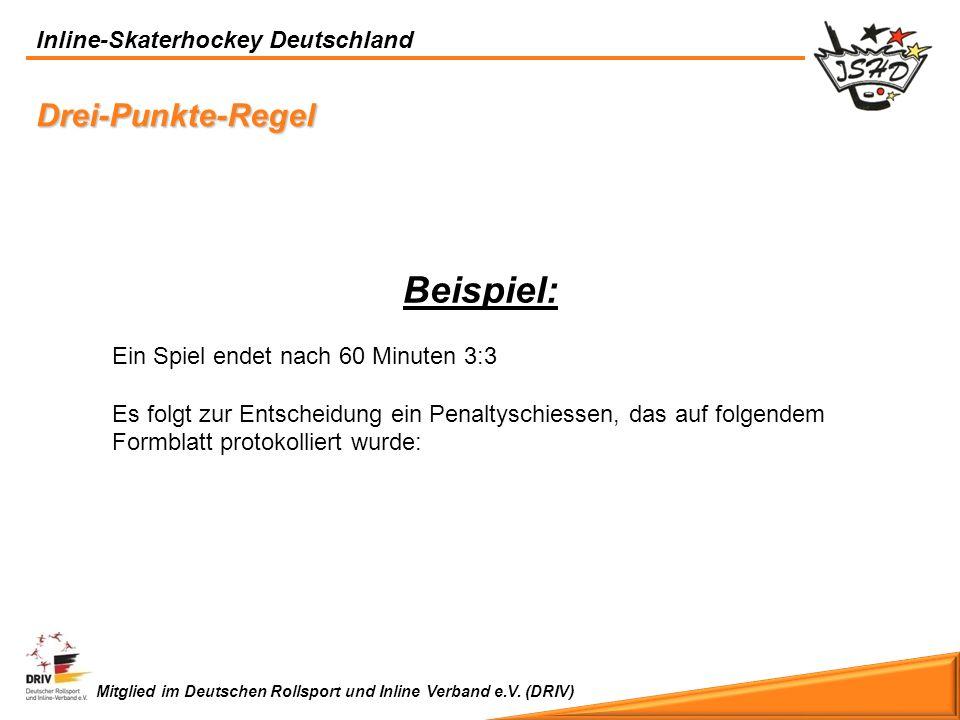 Inline-Skaterhockey Deutschland Mitglied im Deutschen Rollsport und Inline Verband e.V. (DRIV) Drei-Punkte-Regel Beispiel: Ein Spiel endet nach 60 Min