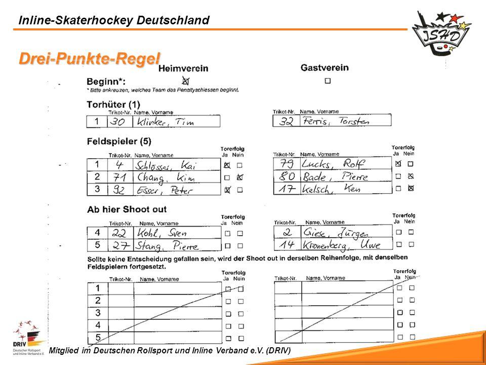 Inline-Skaterhockey Deutschland Mitglied im Deutschen Rollsport und Inline Verband e.V. (DRIV) Drei-Punkte-Regel