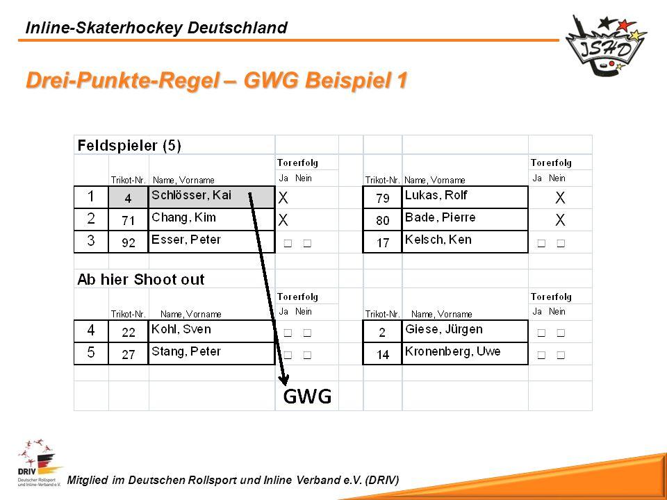 Inline-Skaterhockey Deutschland Mitglied im Deutschen Rollsport und Inline Verband e.V. (DRIV) Drei-Punkte-Regel – GWG Beispiel 1