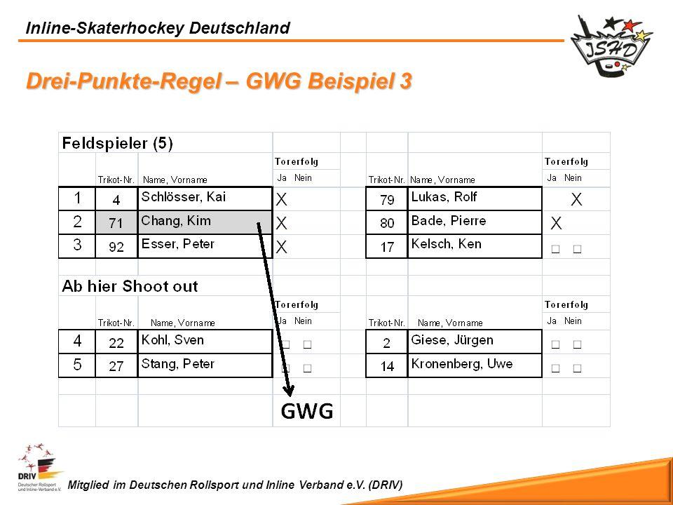 Inline-Skaterhockey Deutschland Mitglied im Deutschen Rollsport und Inline Verband e.V. (DRIV) Drei-Punkte-Regel – GWG Beispiel 3