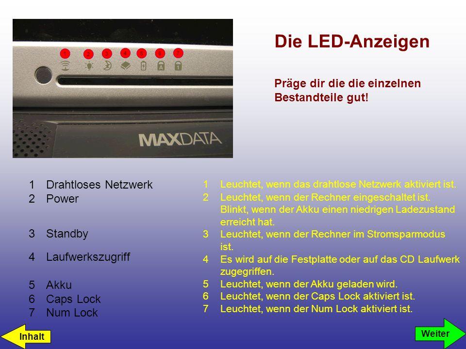 Die LED-Anzeigen 1Drahtloses Netzwerk 2Power 3Standby 4Laufwerkszugriff 5Akku 6Caps Lock 7Num Lock 1Leuchtet, wenn das drahtlose Netzwerk aktiviert ist.