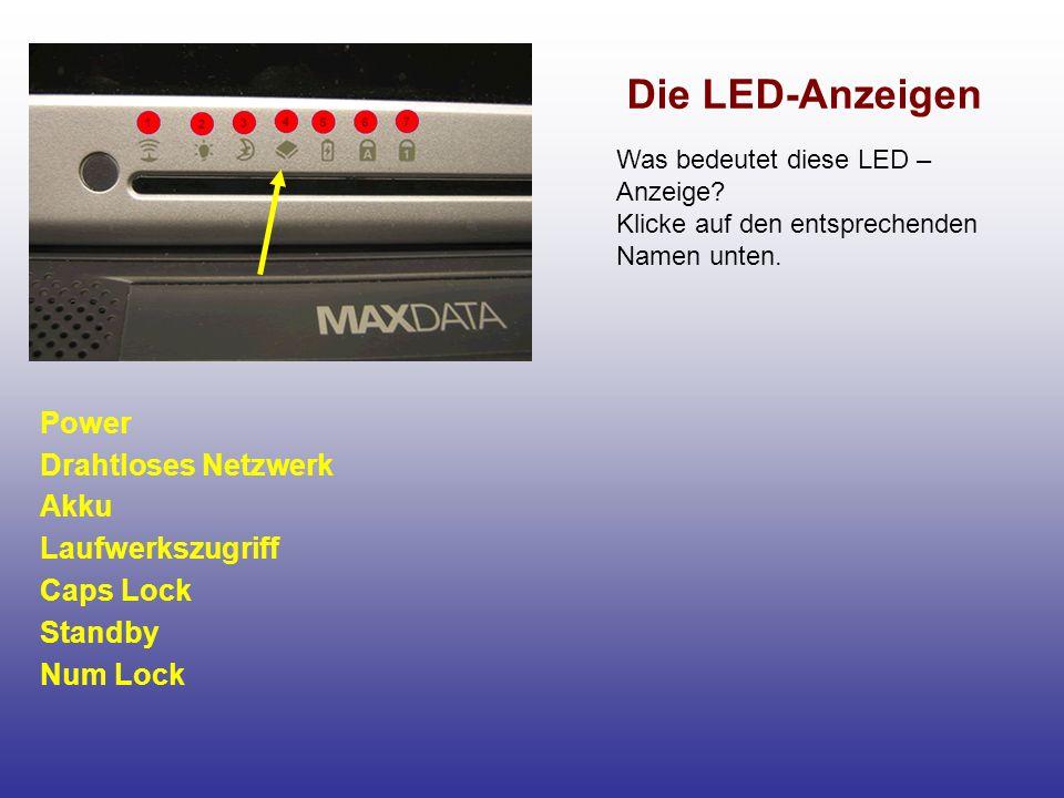 Die LED-Anzeigen Power Drahtloses Netzwerk Akku Laufwerkszugriff Caps Lock Standby Num Lock Was bedeutet diese LED – Anzeige.
