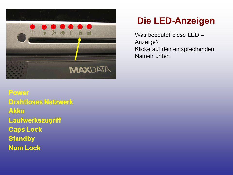 Die LED-Anzeigen Laufwerkszugriff Dieses Lämpchen leuchtet, wenn der Computer auf die Festplatte oder auf das CD-ROM-Laufwerk zugreift.