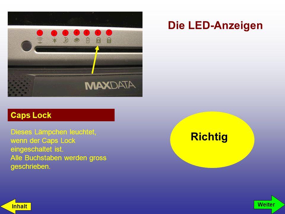Die LED-Anzeigen Power Drahtloses Netzwerk Akku Laufwerkszugriff Caps Lock Standby Num Lock Leider falsch.